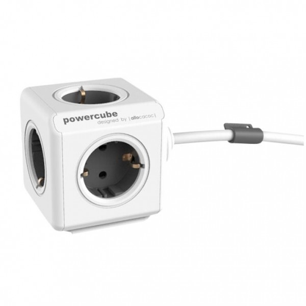 allocacoc PowerCube Extended inkl. 1,5 m Kabel grau Type F